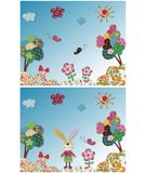 Fairly tale landscape. Colorful quilt design with fabric and paper Royalty Free Stock Photos
