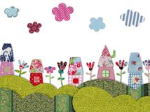 Fairly tale landscape. Colorful quilt design with fabric and paper Stock Photo