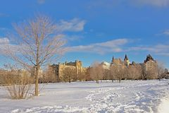 Fairmont Château Laurier castle an Conaught building on a winter day with snow in Ottawa, capital of Canada. Fairmont Château Laurier castle and Conaught royalty free stock images
