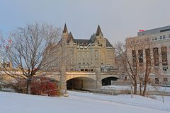Fairmont Château Laurier castle , Ottawa. Fairmont Château Laurier castle along rideau channel on a winter day with snow in Ottawa, capital of Canada stock image