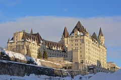 Fairmont Château Laurier castle on a winter day with snow in Ottawa, capital of Canada. Fairmont Château Laurier castle on a sunny winter day with snow in stock images