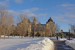 Fairmont Château Laurier castle on a winter day with snow in Ottawa, capital of Canada. Fairmont Château Laurier castle on a sunny winter day with snow in royalty free stock image