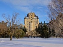 Fairmont Château Laurier castle on a winter day with snow in Ottawa, capital of Canada. Fairmont Château Laurier castle on a sunny winter day with snow in stock photography