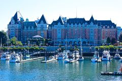 Fairmont Empress Hotel Victoria BC Canada. Front view of the famous historic Empress Hotel overlooking the harbor in Victoria BC Stock Photography