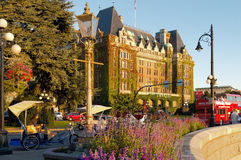 The Fairmont Empress Hotel. VICTORIA, BC - CIRCA SEPTEMBER 2014 - The Fairmont Empress Hotel in Victoria, British Columbia is located in the city centre and Royalty Free Stock Image