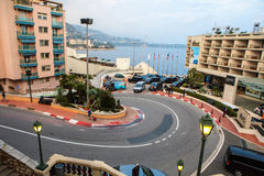 Fairmont Hairpin or Loews Curve, a famous section of the Monaco. Monaco, Monte Carlo - November 4, 2016: The Fairmont Hairpin or Loews Curve, a famous section of stock photography