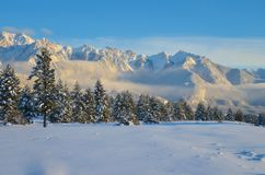 Fairmont Range in Winter at Sunset Stock Images