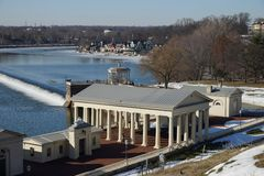 Fairmount Water Works historical landmark and boathouse row, Philadelphia, USA. Royalty Free Stock Photos