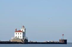 Fairport在伊利湖的港口灯塔 库存图片