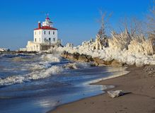 The Fairport Harbor lighthouse in Winter Stock Photography