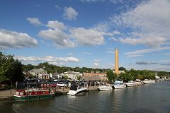 Boats docked along Erie Canal in Fairport, Upstate New York Stock Image