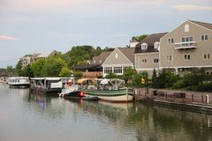Boats docked along Erie Canal in Fairport, Upstate New York Royalty Free Stock Image
