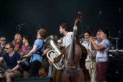 Fairport's Cropredy Covention 2014 - Joe Broughton's Conservatoire Folk Ensemble. Fairport's Cropredy Convention is an annual festival of folk and rock music Royalty Free Stock Photo