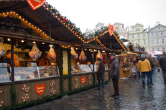 Fairs of christmas. Traditional Christmas fair at Old Town Square in Prague, Czech Republic stock image