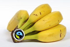 Fairtrade label on a bunch of ripe bananas Stock Images