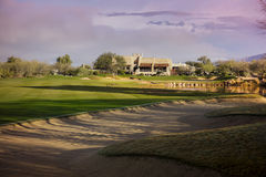 Fairway of beautiful Arizona golf course mountain backdrop Royalty Free Stock Photo