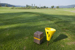 Fairway of a beautiful golf course. Tee box and fairway of a beautiful golf course Stock Image
