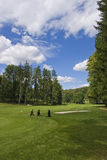 Fairway of a beautiful golf course. Three golf trolleys standing on fairway of a beautiful golf course with dramatic summer sky Royalty Free Stock Photo