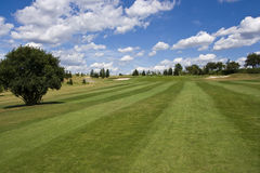Fairway of a beautiful golf course. With dramatic summer sky Stock Photo
