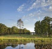 Fairway de terrain de golf avec des arbres et étang en soleil de fin de l'après-midi Image stock