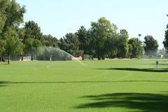 Fairway do campo de golfe com irrigação. Imagens de Stock