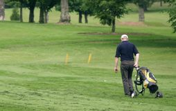 Fairway walk. Golfer walking the fairway with clubs and bag Stock Image
