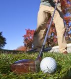 Fairway wood shot with old club Royalty Free Stock Images