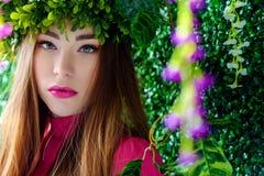 Fairy девушка в венке Стоковое Изображение RF