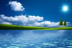Fairy естественный ландшафт с зелеными холмами Стоковые Изображения RF