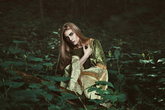 Fairy женщина с книгой в древесинах Стоковое Фото