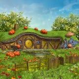Fairy коттедж с тыквами бесплатная иллюстрация