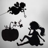 Fairy кума, Золушка и тыква затеняют марионеток Стоковое Изображение RF