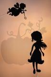 Fairy кума и Золушка затеняют марионетку и тень тыквы Стоковое Изображение RF