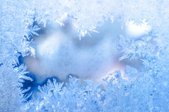 Fairy лед зимы, голубая текстура на окне, предпосылке праздника, cl Стоковая Фотография RF