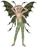 Fairy мальчик в зеленом цвете, поднятых оружиях Стоковая Фотография