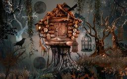 Fairy дом в сумерк Иллюстрация вектора