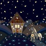 Fairy дом с лошадью на холмах Стоковая Фотография