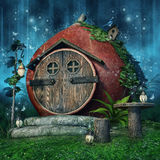 Fairy дом с фонариками иллюстрация штока