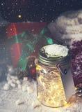 Fairy праздник рождества освещает в опарнике с decoratio рождества Стоковые Фотографии RF