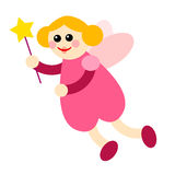 Fairy 02. Pink fairy with magic stick Stock Image