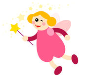 Fairy 04. Pink fairy with magic stick Stock Image