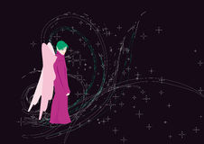 Fairy. With pink wings among stars Stock Photo