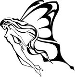 The fairy. A  illustration of the flying bared girl with a long flowing hair and wings of the butterfly. Black and white Royalty Free Stock Photos
