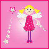 Fairy. Modern fairy princess with magic star wishing wand, ideal for greeting card, birthday card, vector Stock Photos