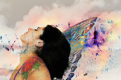 Fairy. Mixed media collage of fairy woman with wings against abstract background Royalty Free Stock Images