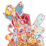Fairy. Illustration created with colored pencils, watercolor and ink, in pretty pastel colors Royalty Free Stock Photo