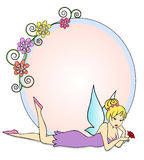Fairy. Round text frame with flowers and a fairy lying down next to it Royalty Free Stock Image