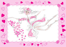Fairy. A dancing fairy in a pink dress and a wreath of roses Royalty Free Stock Image