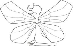 Fairy 2. Contour of the sitting fairy, black and white Royalty Free Stock Photography