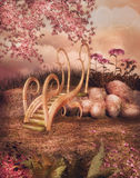 Fairy сад с мостом Стоковое Изображение